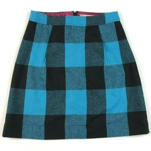 Banana Republic 00 Wool Checkered Skirt Plaid Blue